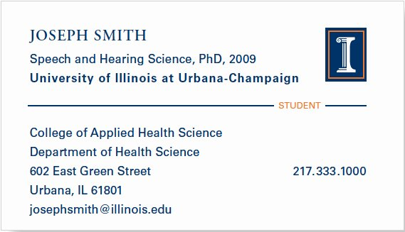 Student Business Card Template Lovely Business Cards Identity Standards Illinois