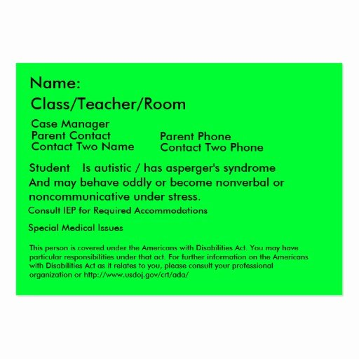 Student Business Cards Template Best Of Autistic Student Card Business Cards Pack 100