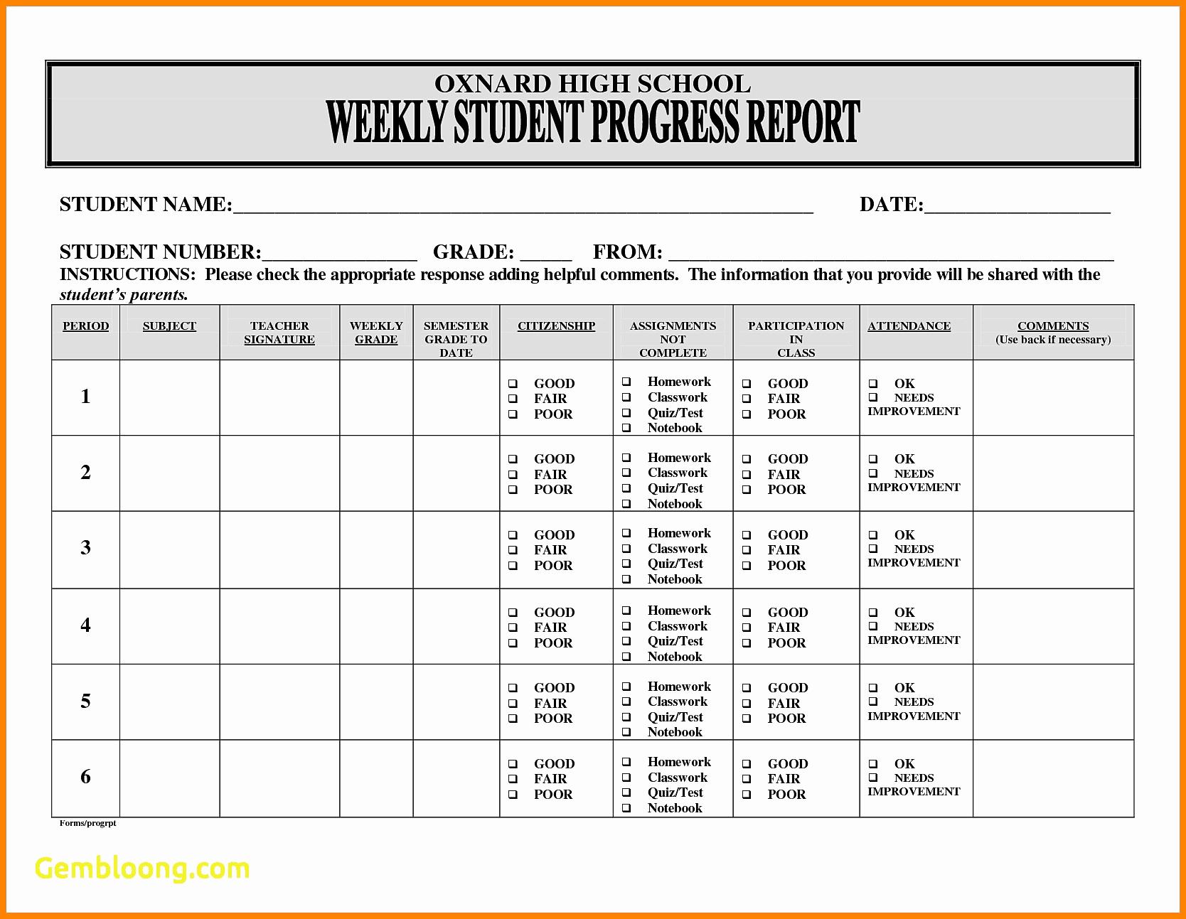 Student Progress Report Template Elegant 6 Students Progress Report Template