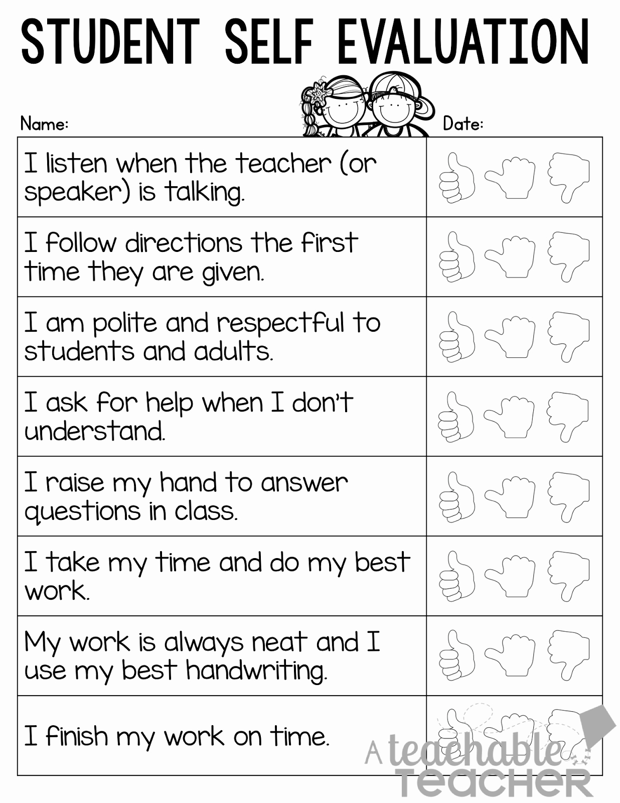 Student Self assessment Template Awesome A Teachable Teacher Parent Teacher Conference Tips and