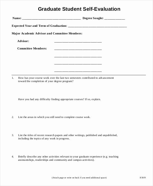 Student Self assessment Template Awesome Sample Student Evaluation form