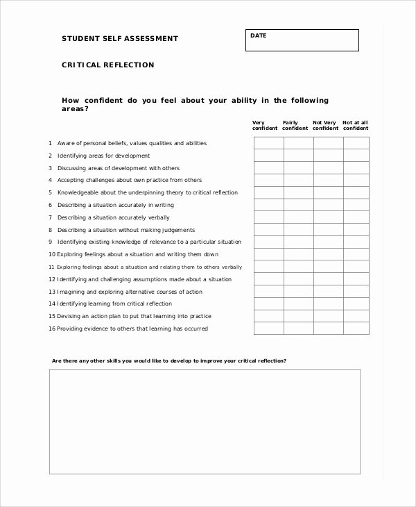 Student Self assessment Template Elegant 7 Student Self assessment Samples