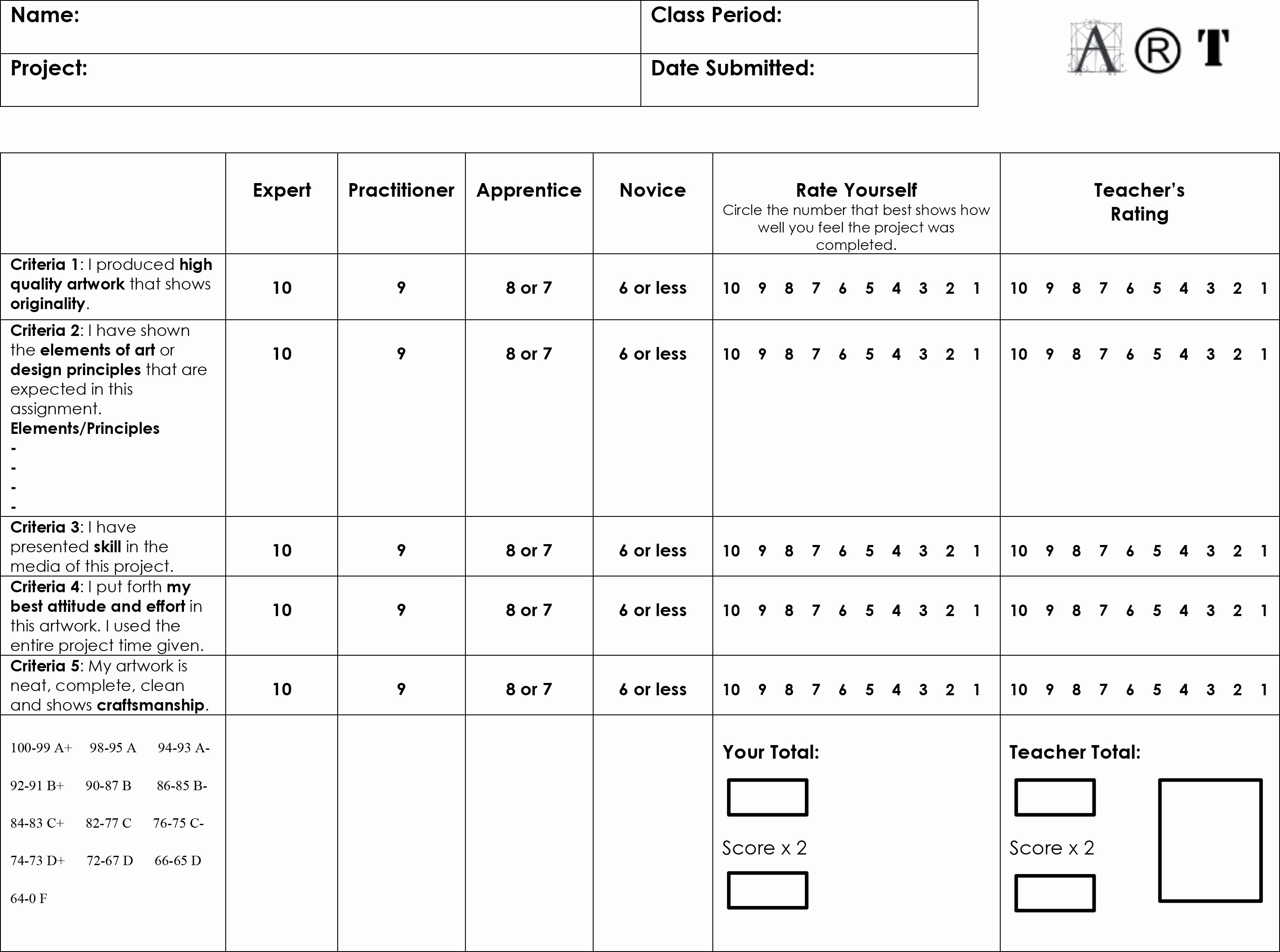 Student Self assessment Template Fresh Evaluation Student Self Evaluation form