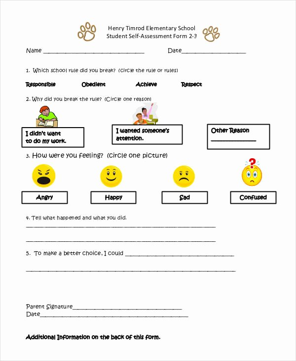 sample self assessment forms