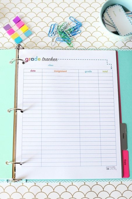 Student Tracking Sheet Template Lovely Printable Student Binder Just A Girl and Her Blog