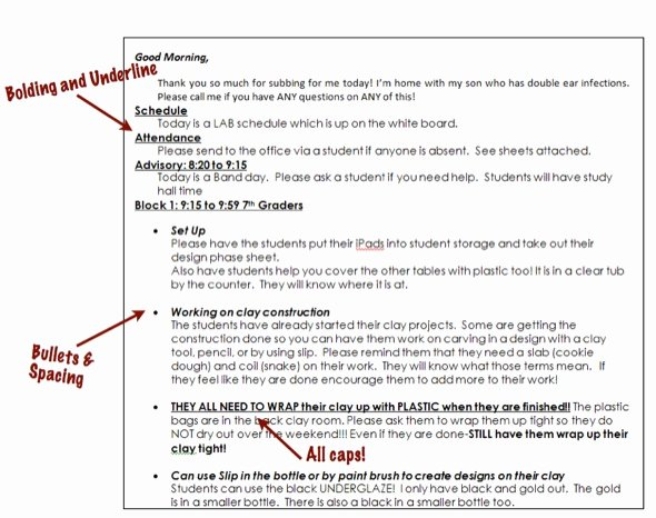 Sub Lesson Plan Template Fresh Use formatting to Create Easy to Read Sub Plans the Art