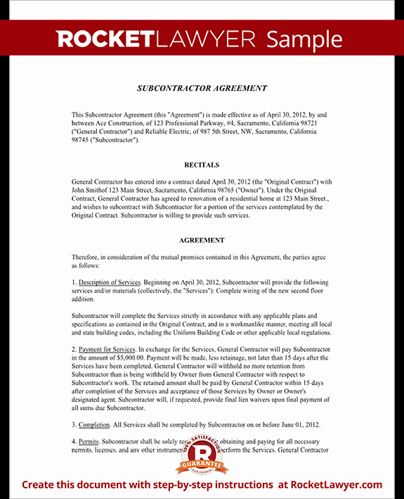 Subcontractor Agreement Template Free Awesome Subcontractor Agreement Contract form