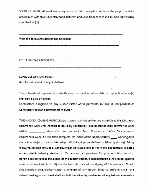 Subcontractor Agreement Template Free Awesome Subcontractor Agreement Template Microsoft Word Templates