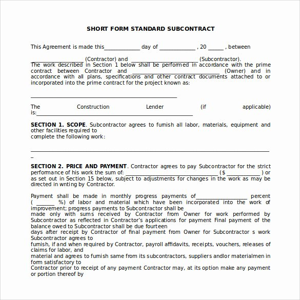 Subcontractor Agreement Template Free Beautiful 15 Sample Subcontractor Agreements