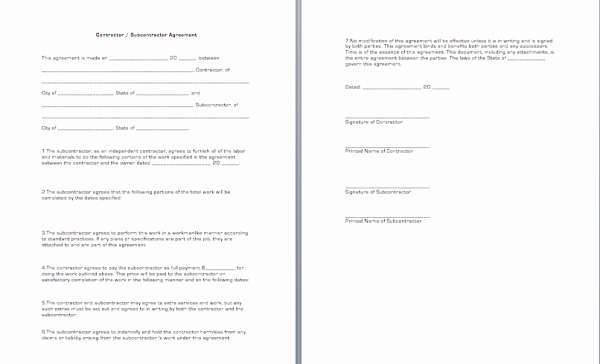 Subcontractor Agreement Template Free Beautiful Contractor Subcontractor Agreement