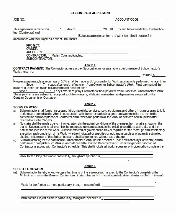Subcontractor Agreement Template Free Best Of Sample Subcontractor Agreement 9 Examples In Pdf Word