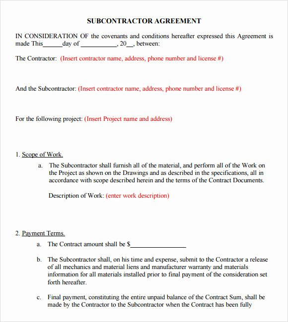 Subcontractor Agreement Template Free Elegant 8 Subcontractor Agreement Samples