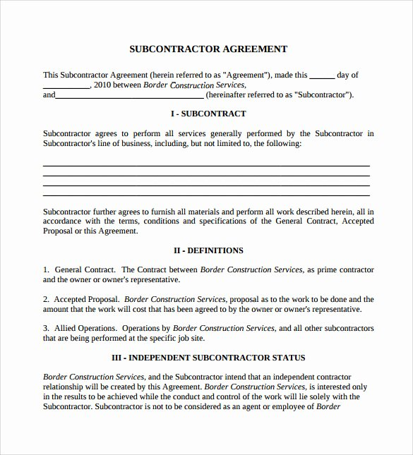 Subcontractor Agreement Template Free Inspirational 15 Sample Subcontractor Agreements