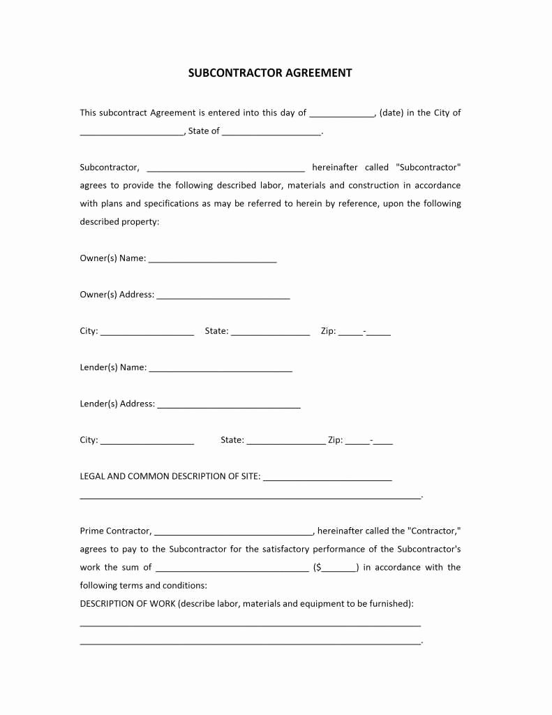 Subcontractor Agreement Template Free Lovely 12 Detail Subcontractor Agreement Template Word Da