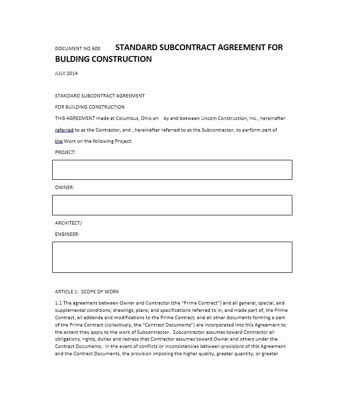 Subcontractor Agreement Template Free Lovely Need A Subcontractor Agreement 39 Free Templates Here