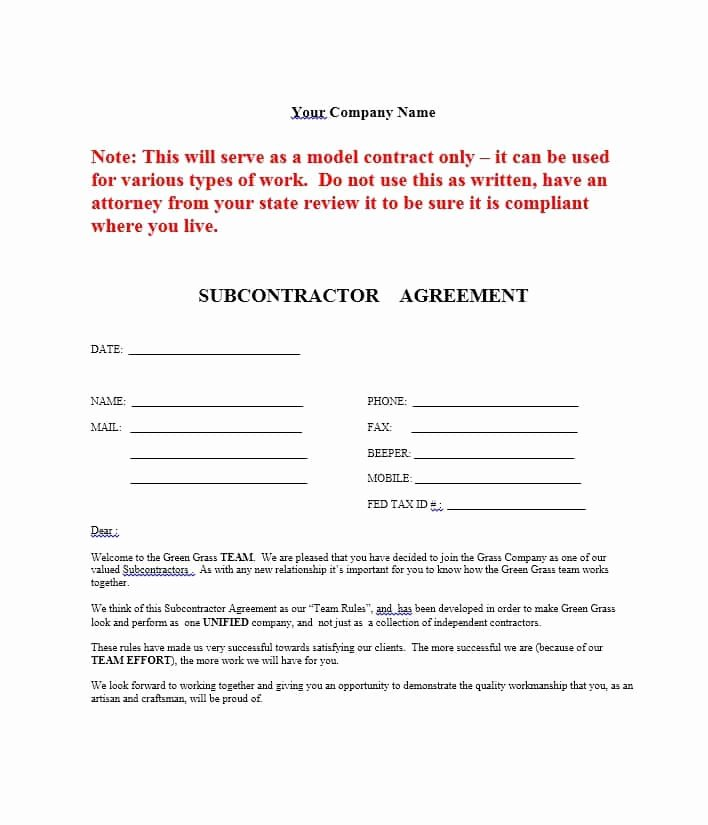 Subcontractor Agreement Template Free New Need A Subcontractor Agreement 39 Free Templates Here
