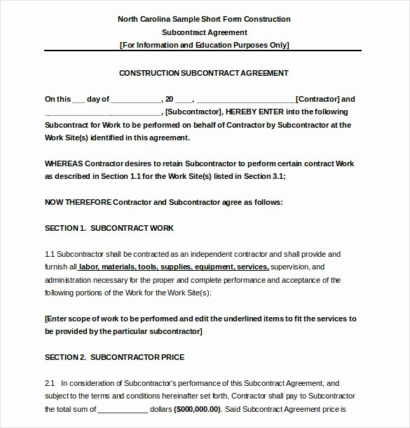 Subcontractor Agreement Template Free Unique 17 Subcontractor Agreement Templates Word Pdf Pages