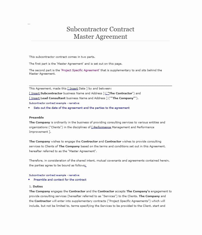 Subcontractor Agreement Template Free Unique Need A Subcontractor Agreement 39 Free Templates Here