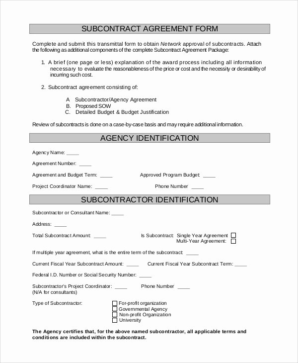 Subcontractor Agreement Template Free Unique Sample Subcontractor Agreement 9 Examples In Pdf Word