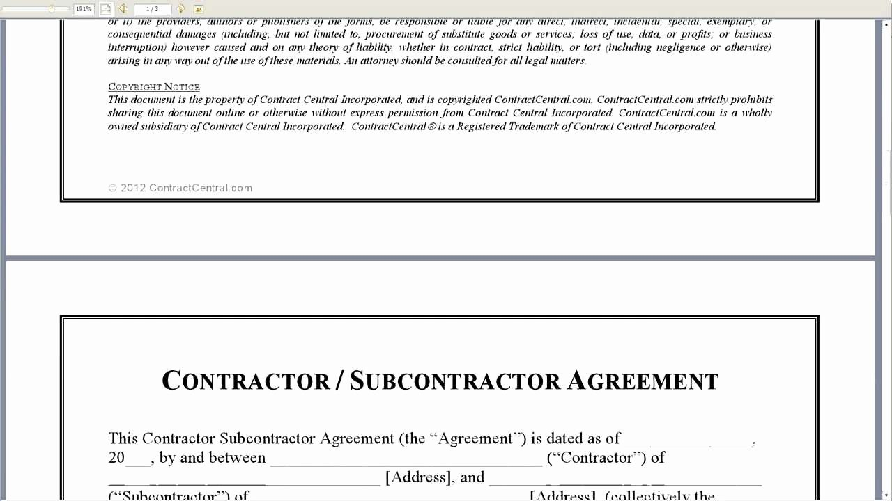 Subcontractor Contract Template Free Beautiful Contractor Subcontractor Agreement