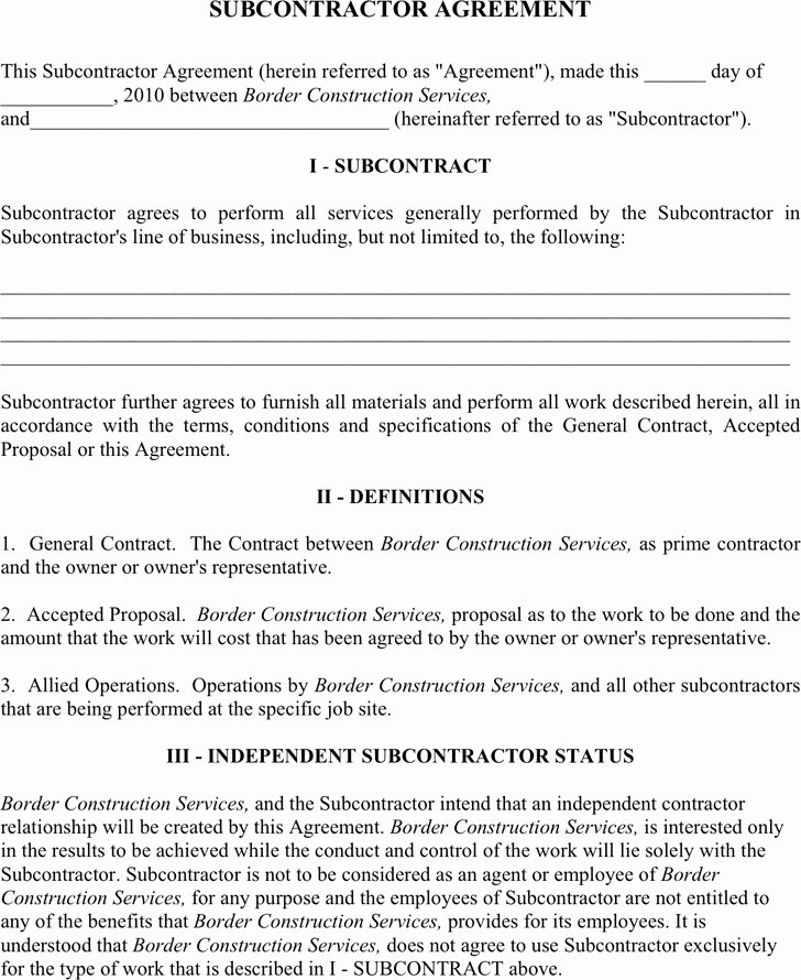 Subcontractor Contract Template Free Elegant 6 Subcontractor Agreement Free Download