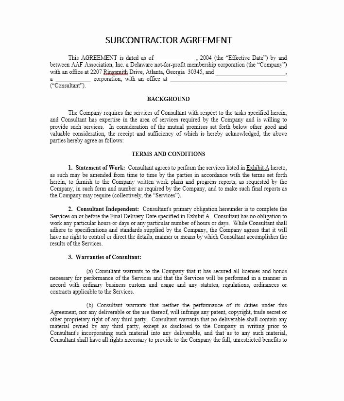 Subcontractor Contract Template Free Elegant Need A Subcontractor Agreement 39 Free Templates Here