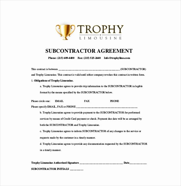 Subcontractor Contract Template Free Inspirational 13 Subcontractor Agreement Templates – Word Pdf Pages
