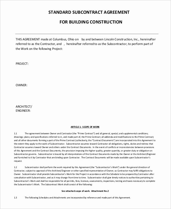 Subcontractor Contract Template Free Inspirational Subcontractor Agreement 11 Free Word Pdf Documents