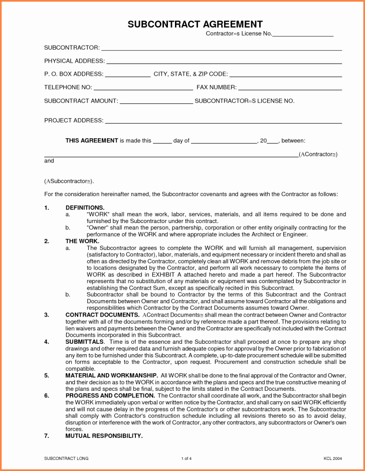 Subcontractor Contract Template Free Luxury Agreement Subcontractor Agreement