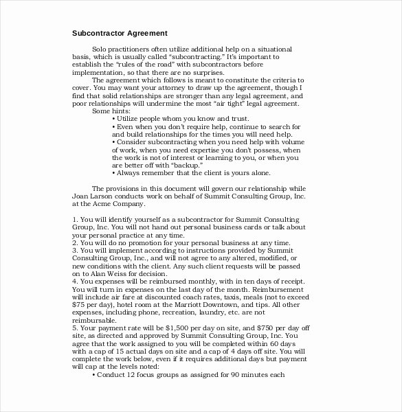 Subcontractor Contract Template Free New 13 Subcontractor Agreement Templates – Word Pdf Pages