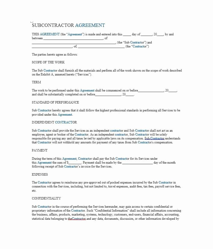 Subcontractor Contract Template Free New Need A Subcontractor Agreement 39 Free Templates Here