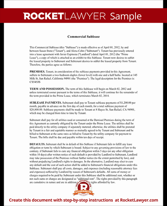 Sublease Agreement Template California Elegant Mercial Sublease Agreement Template