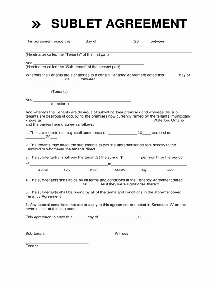 Sublease Agreement Template California Fresh Sublease Agreement form