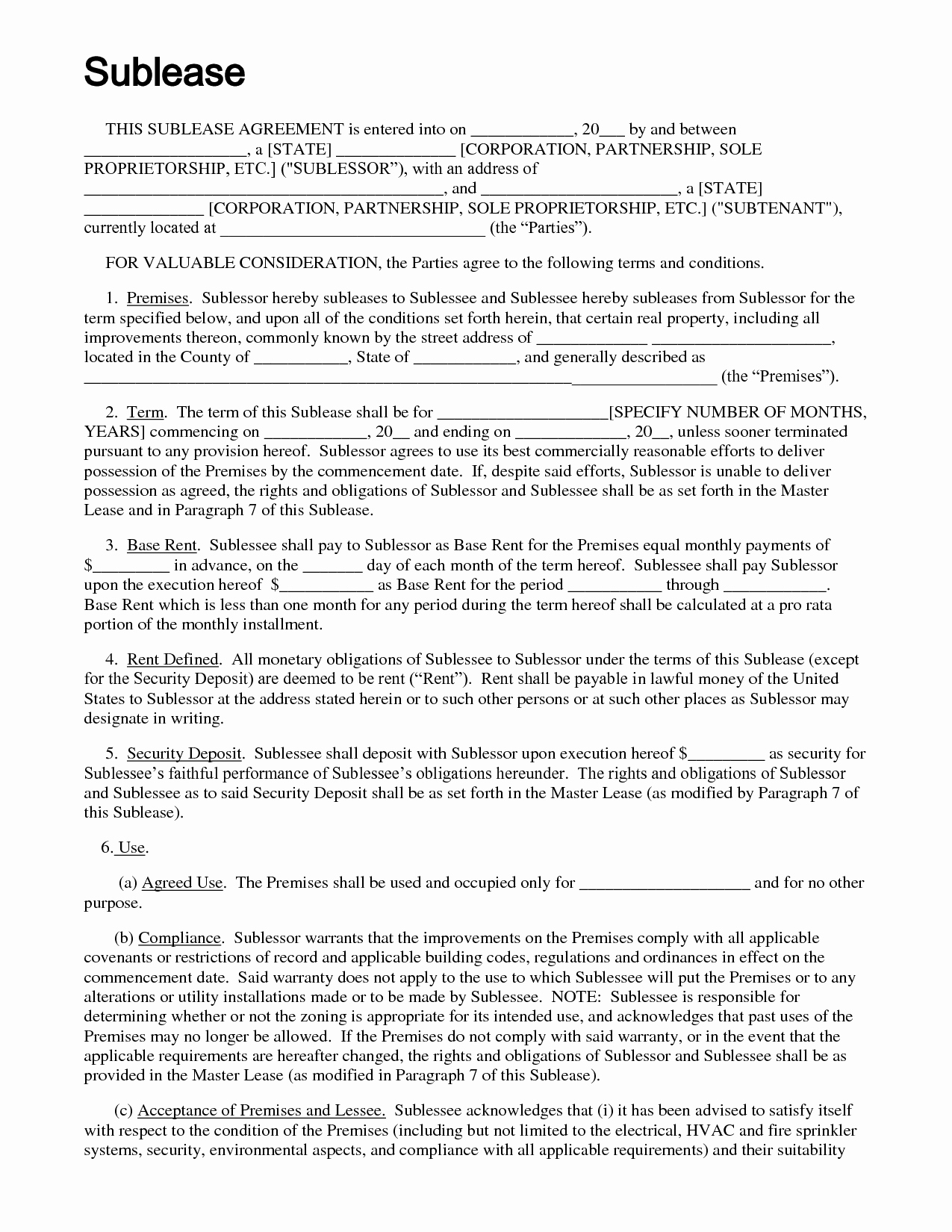 Sublease Agreement Template California Inspirational Sublease Agreement Template
