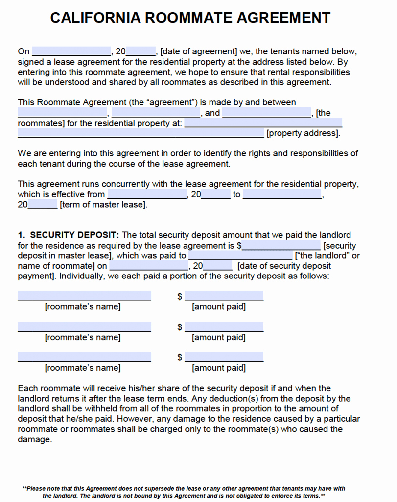Sublease Agreement Template California New Free California Roommate Agreement Template