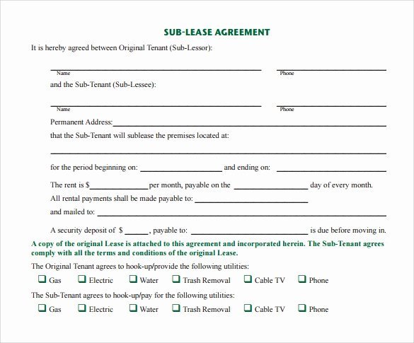 Sublease Agreement Template Free Awesome 23 Sample Free Sublease Agreement Templates to Download