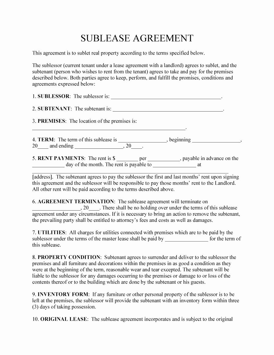 Sublease Agreement Template Free Elegant 40 Professional Sublease Agreement Templates & forms