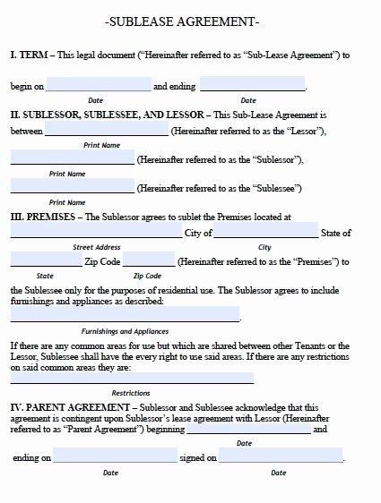 Sublease Agreement Template Free Elegant Sublease Agreement Template