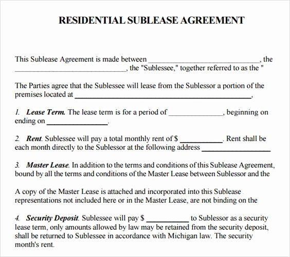 Sublease Agreement Template Free Fresh Templates On Pinterest