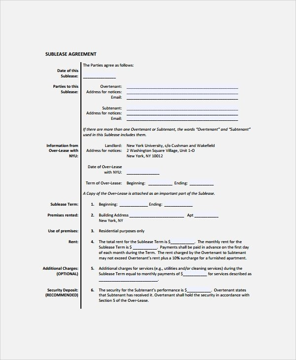 Sublease Agreement Template Free Inspirational 9 Mercial Sublease Agreements