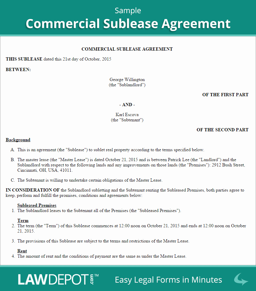 Sublease Agreement Template Free Inspirational Mercial Sublease Agreement Template Us