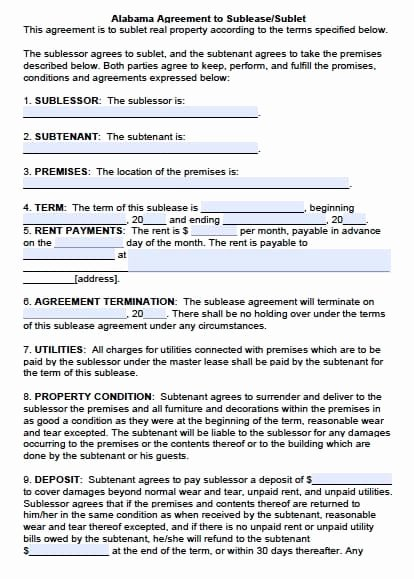 Sublease Agreement Template Free Lovely Free Alabama Sublease Agreement – Pdf Template