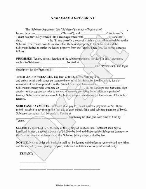 Sublease Agreement Template Free New Sublease Agreement form Sublet Contract Template with