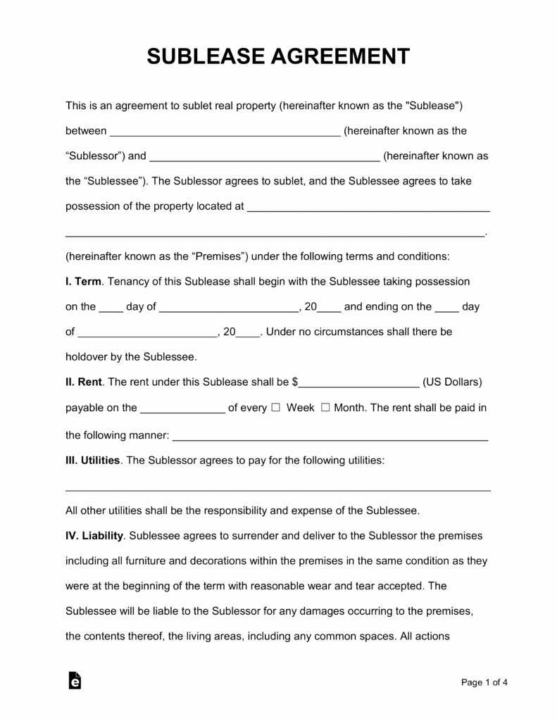Sublease Agreement Template Free Unique Free Rental Lease Agreement Templates Residential