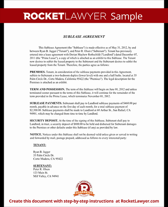 Sublease Agreement Template Free Unique Sublease Agreement form Sublet Contract Template with