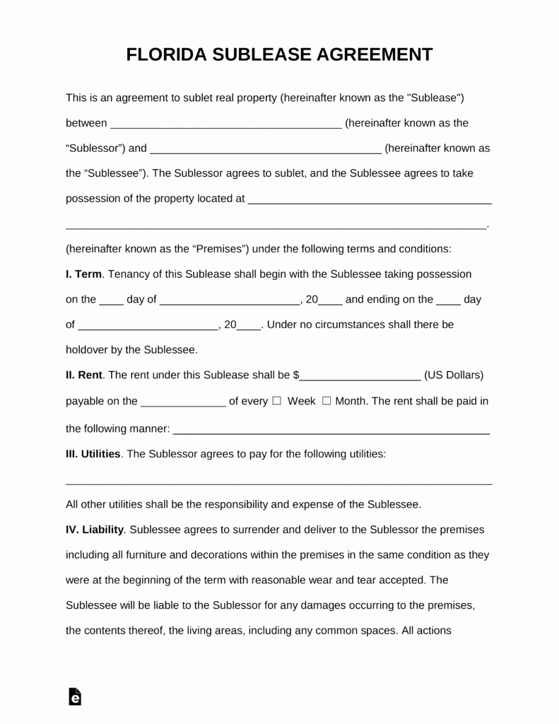 Sublease Agreement Template Word Best Of Florida Sub Lease Agreement Template