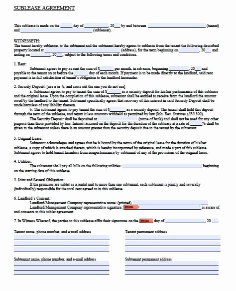Sublease Agreement Template Word Elegant Free Missouri Sublease Agreement form – Pdf Template