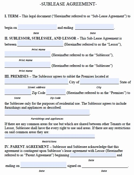 Sublease Agreement Template Word Fresh Sublease Agreement Template