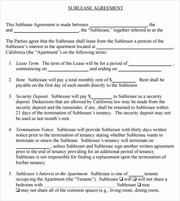 Sublease Agreement Template Word Lovely 23 Sample Free Sublease Agreement Templates to Download