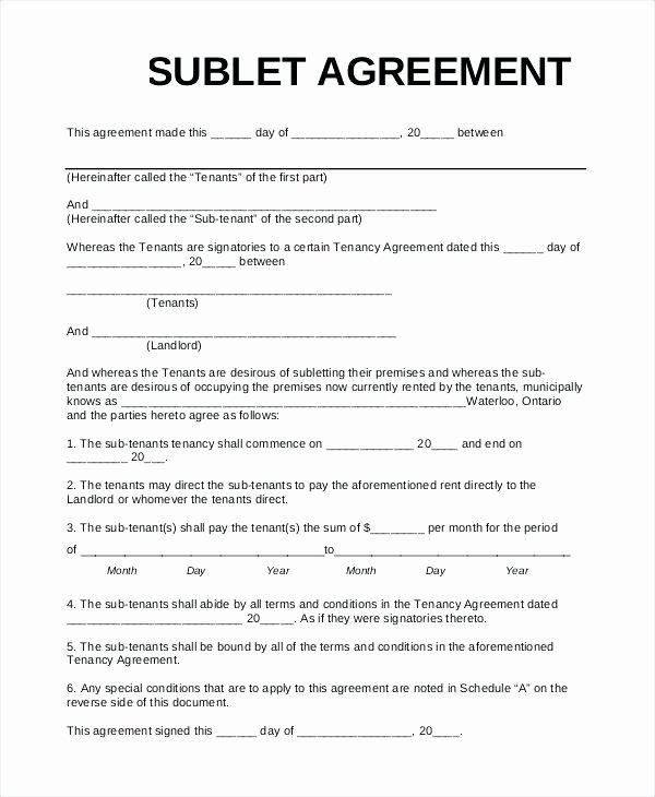 Sublease Agreement Template Word Lovely Sublet Template Free Subletting Contract Uk Sublease